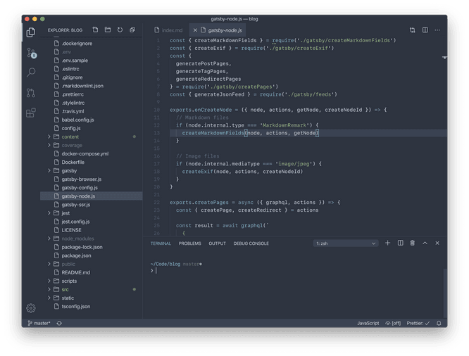 VS Code dark theme: Nord, SF Mono
