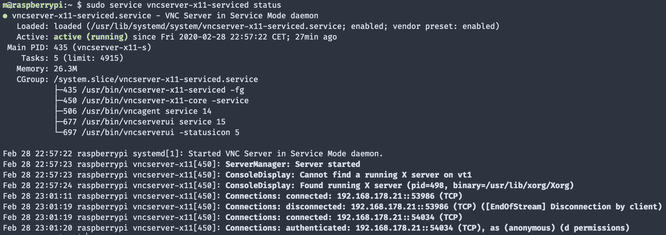 RealVNC service status output