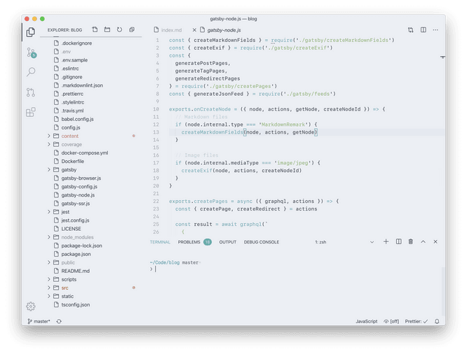 VS Code light theme: Polar, SF Mono